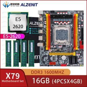 ALZENIT X79 набор материнских плат X79M-CE3 M.2 MATX с LGA2011 Combos Xeon E5 2620 2,0 GHz CPU 4*4GB (16GB) DDR3 1600MHz ECC/REG RAM