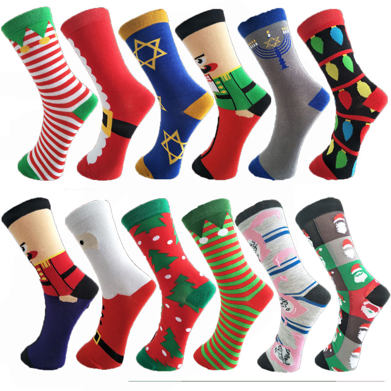 Men's Socks Winter Socks Harajuku Hip hop Cute Print Men's and Women's Christmas Socks Retro Casual Breathable Warm Funny Socks