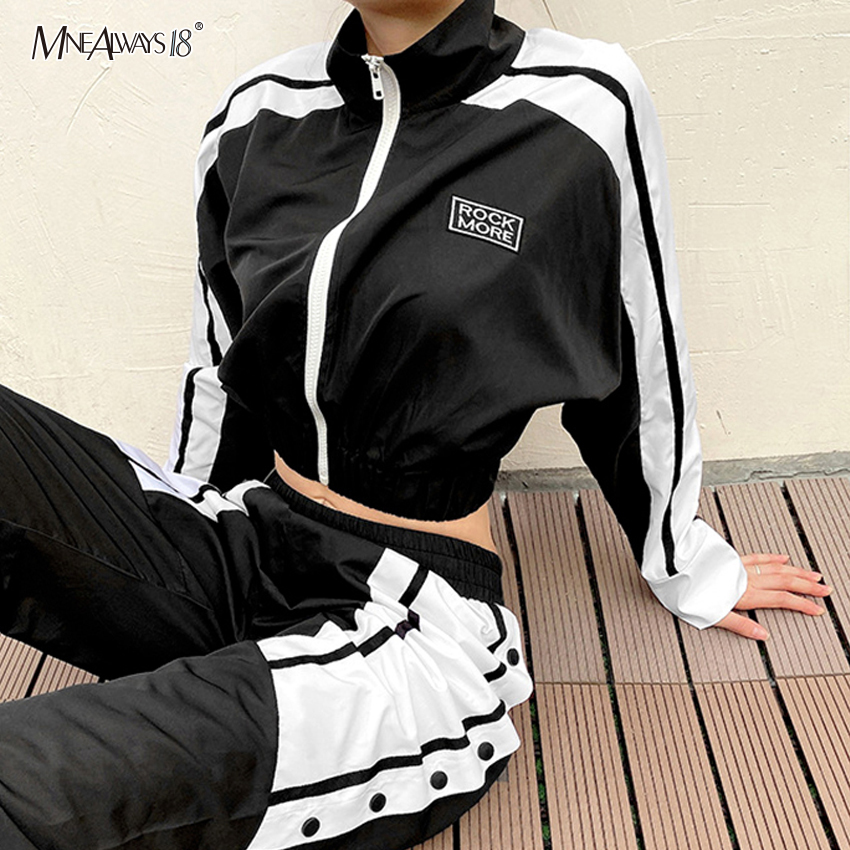 Mnealways18 Color Block Women Cropped Coat Patchwork Zipper Jacket Casual Coat Winter Turtleneck White Black Jacket Streetwear