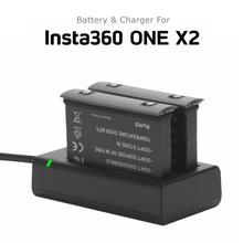 Novo 1700mah bateria para insta360 um x2 bateria de lítio recarregável insta 360 x2 carga rápida hub acessórios