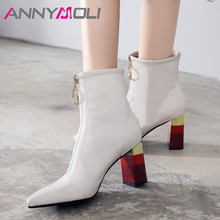 ANNYMOLI Winter Ankle Boots Women Natural Genuine Leather Thick High Heel Short Boots Zipper Pointed Toe Shoes Lady Autumn 34-39