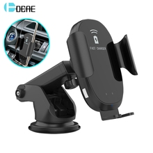 DCAE Automatic Clamping 10W Fast Qi Wireless Car Charger For iPhone XS XR X 8 11 Samsung S10 S9 Infrared Sensor Car Phone Holder