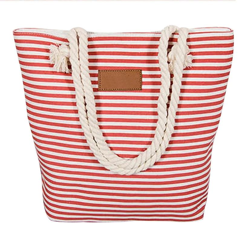 Women Stripes Canvas Beach Bag Large Capacity Totes Casual Shopping Handbag