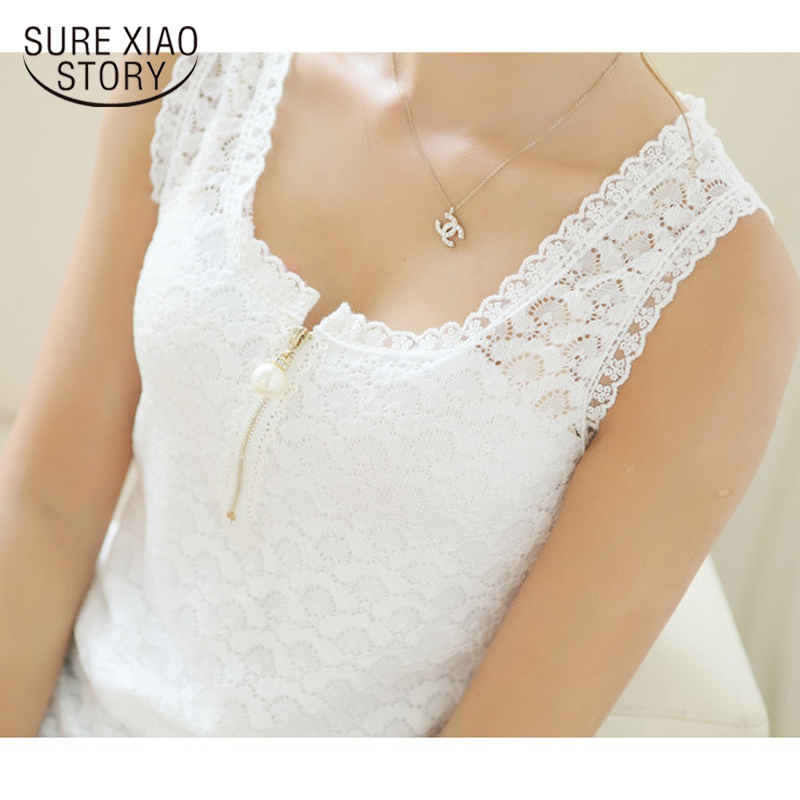2019 New Fashion Summer Plus Size Lace Hollow Out Sleeveless Shirt Women White  Tops Women Solid Shirt 117F 20