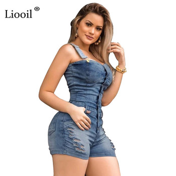 Liooil Hole Sexy Bodycon Short Jumpsuit Women Summer 2020 Spaghetti Strap Strapless Button Up Rompers Womens Jumpsuit Shorts 2
