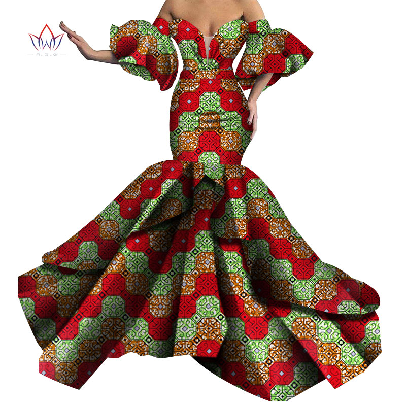 Bazin Riche African Print Sexy Evening Long Dresses Dashiki African Dresses For Women African Clothes Strapless Dresses WY5613