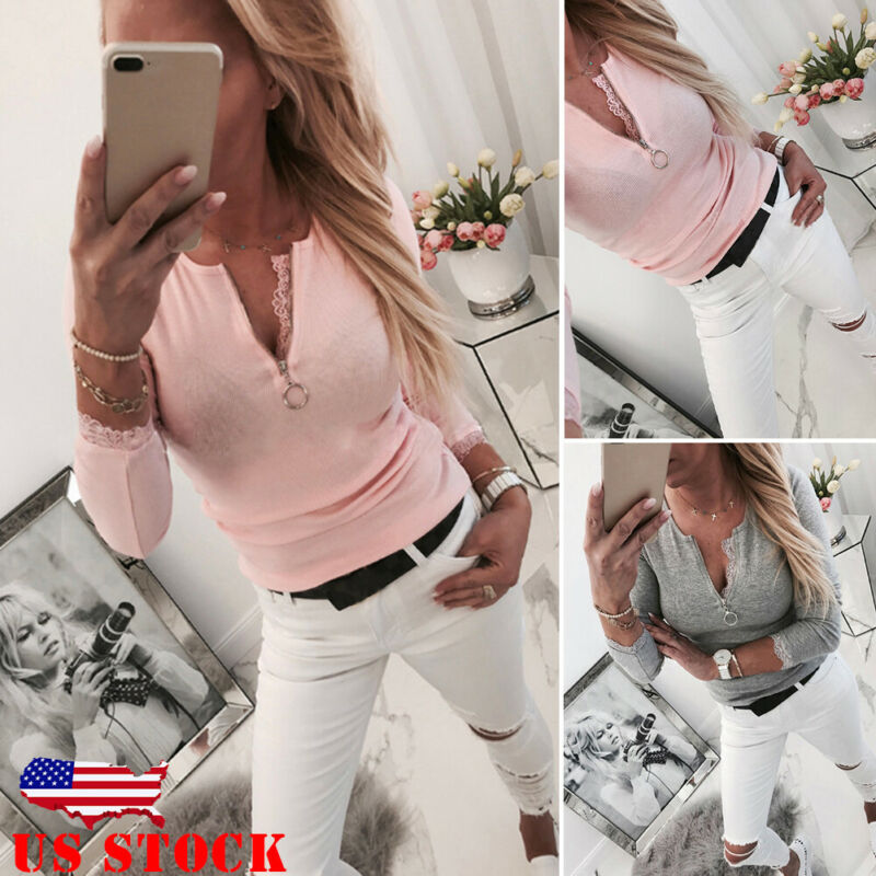 Fashion Women Sexy T Shirt Zipper V Neck Long Sleeve Tight Tee Casual Slim Solid Color Shirt Adjustable Neckline Pink Tops New