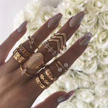 Punk Gold Color 13 pcs/set Vintage Virgin Mary Rings for Women Hollow Crystal Flower Leaves Jewelry Ring Set Wholesale