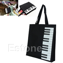 Hot Fashion Black Piano Keys Music Handbag Tote Bag Shopping Bag Handbag