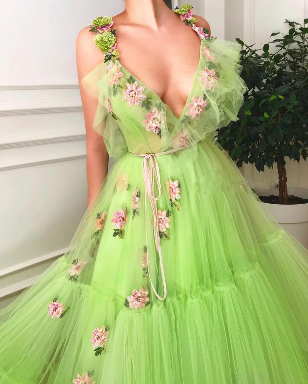 Fleur bal robes de bal 2019 vert Fariy profonde col en V robes de soirée formelles Occasion spéciale fête porter Vestidos robe de soirée