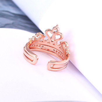 Fashion 925 Sterling Silver Rings Rose Gold Zircon Drill Hollow Crown Diamond Rings for Women Wedding Engagement Jewelry Gifts 4