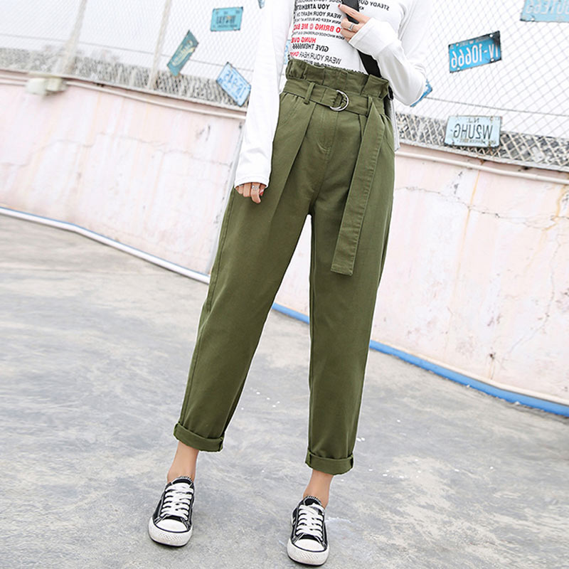 Black High Waist Cargo   Pants   Women Pockets Patchwork Loose Streetwear Harem   Pants     capris   2019 Fashion Hip Hop Women's Trousers
