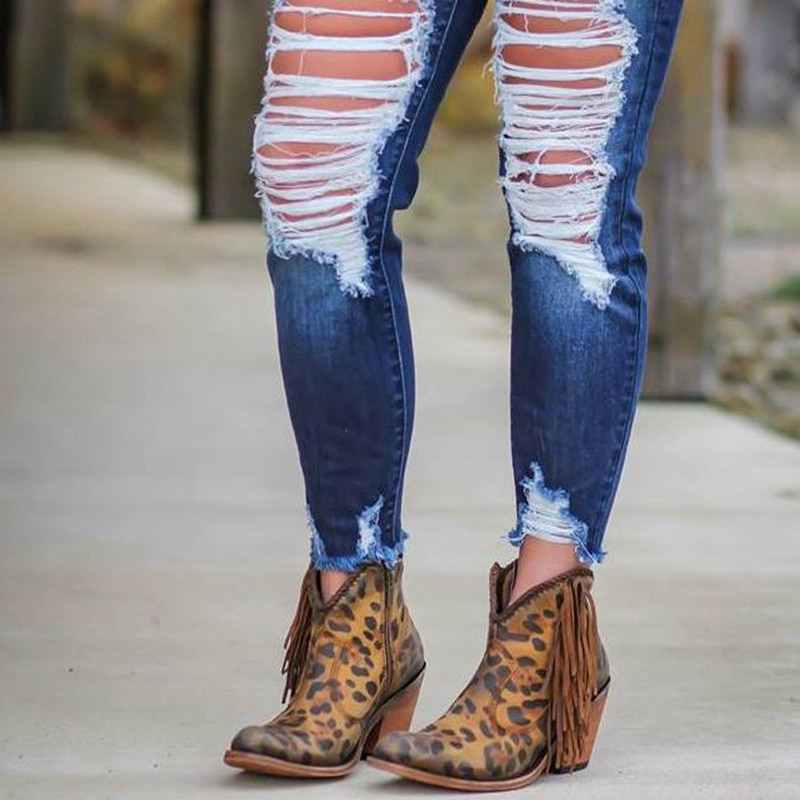 YIBING1517 Kadın Ayakkabı 2019 Moda Leopar Baskı Seksi Sivri Burun yarım çizmeler üzerinde Kayma Derin V Yüksek Topuk Fringe Çizmeler Bayan ayakkabı