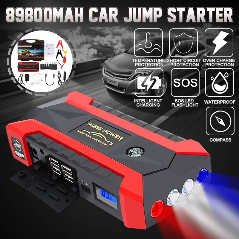 600A 89800mAh Starting Device Power Bank Jump Starter Car Battery Booster Emergency Charger 12V Multifunction Battery Booster
