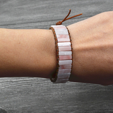 Geometric Pink Opal Bracelet Handmade Braided Natural Stone Leather Wrap For Women Lucky Boho Accessories Dropshipping