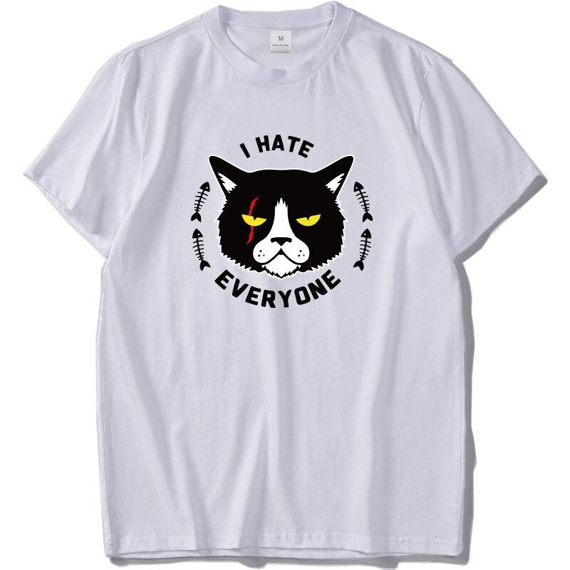 Я не хочу всем футболка с изображением черного кота, верхняя часть одежды натуральный хлопок мягкая, принт с животными, футболка белая унисе...