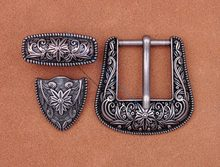 "Heavy Duty Western Cowboy Cowgirl Rodeo Vintage Silver Flower Embossed Quality Leather Belt Buckle Fit 1"" Belt Strap(China)"