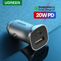 UGREEN Auto Ladegerät Typ C Schnelle USB Ladegerät für iPhone 11 12 Xiaomi Auto Lade Schnell 4,0 3,0 Lade Moible telefon PD Ladegerät