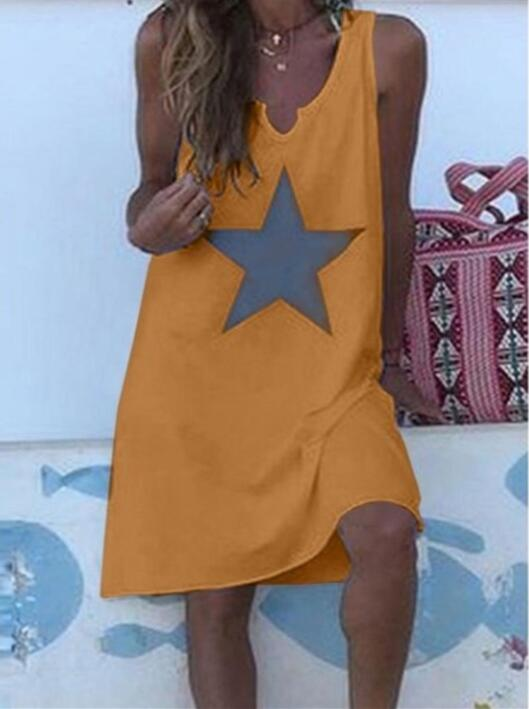 Women 2021 Loose Vintage Star Print Cotton Dress Large Big Summer  Party Beach Dresses Plus Sizes 19