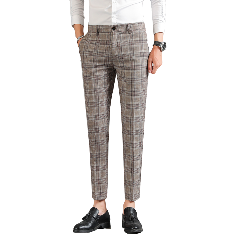 Men's Winter Plaid Suit Pants Business Casual Slim Trousers Men's Wedding Casual Pants/ Feet Pants Nine Points Plaid Suit Pants