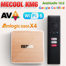 Mecool km6 smart tv box android 10.0 amlogic s905x4 wifi 6 av1 hd tvbox google certificado 1000m hdr 4k tv conjuntos caixa 4g 64ggb