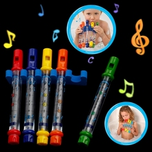 Set of 5 Water Flutes Music Song Sheets Instruments Kids Fun Children Bath Toy L9CD