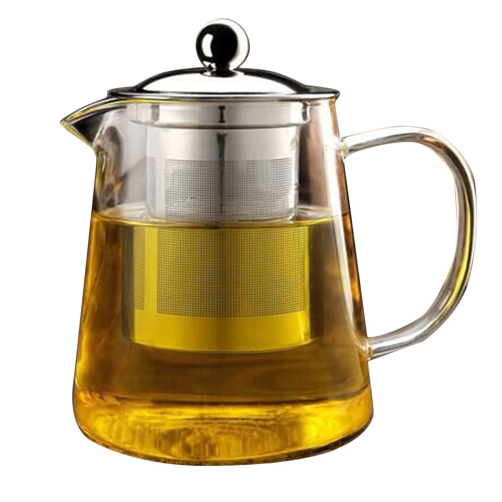 Non-Toxic Transparent Clear Borosilicate Glass Teapot Elegant Glass Tea Cup Teapot With Stainless Steel Infuser Strainer