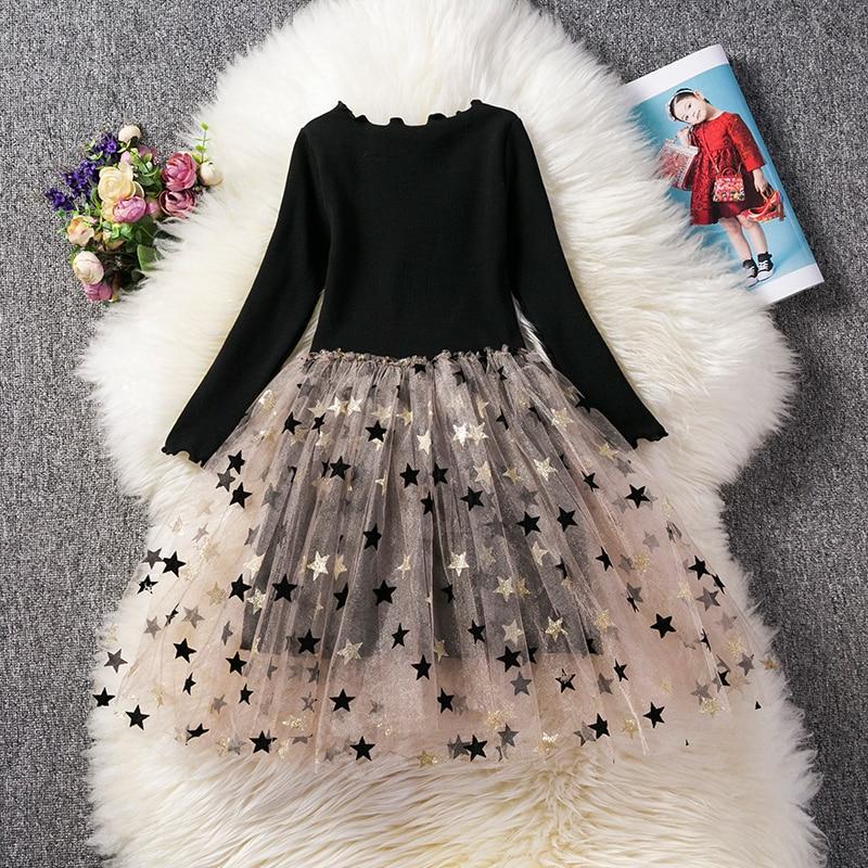 Full Sleeve Dress for Girls Clothing Cotton Pentagram Pattern Mesh Tutu Dress Casual Wear 2-7Years Kids Children Autumn Dresses 1