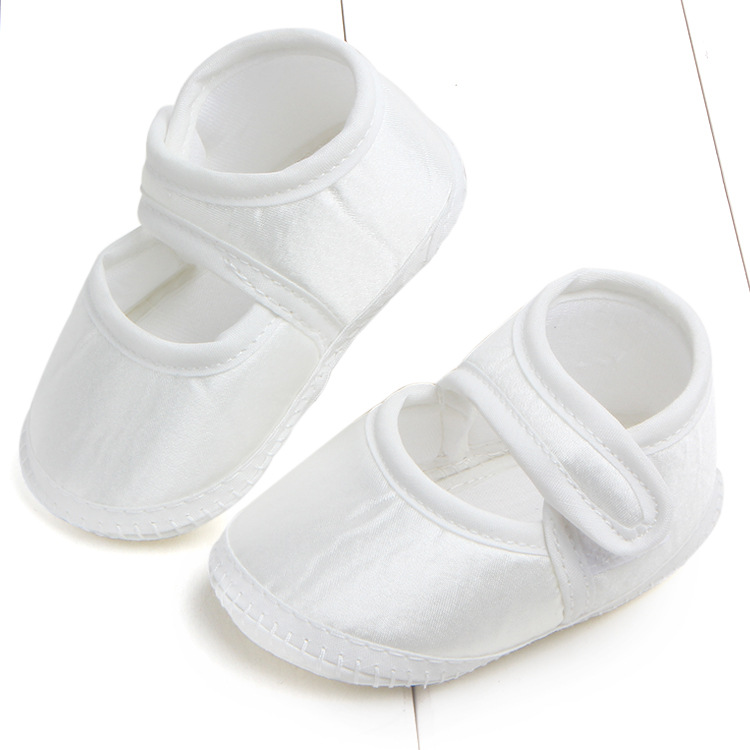 Newborn Baby Shoes First Walkers Crib Bebe Footwear Pure White Kids Satin Baptism Christening Mary Jane Soft Shoes Prewalkers