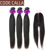 лучшая цена Code Calla Straight Hair Bundles With 2X6 KIM K Lace Closure Brazilian 100% Remy Human Hair Extensions Bundles Natural Black