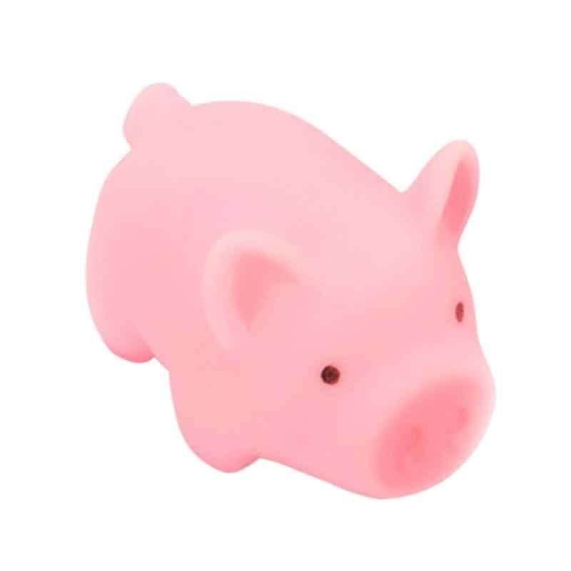 Rosa de cerdo de dibujos animados juguete cerdito suena silicona juguete presión aliviar truco