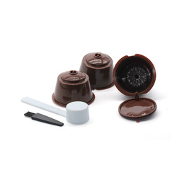 3 Pcs Reusable Coffee Capsule Filter Cup for Nescafe Dolce Gusto Filter Baskets Pod Soft Taste Refillable Capsule Spoon Brush