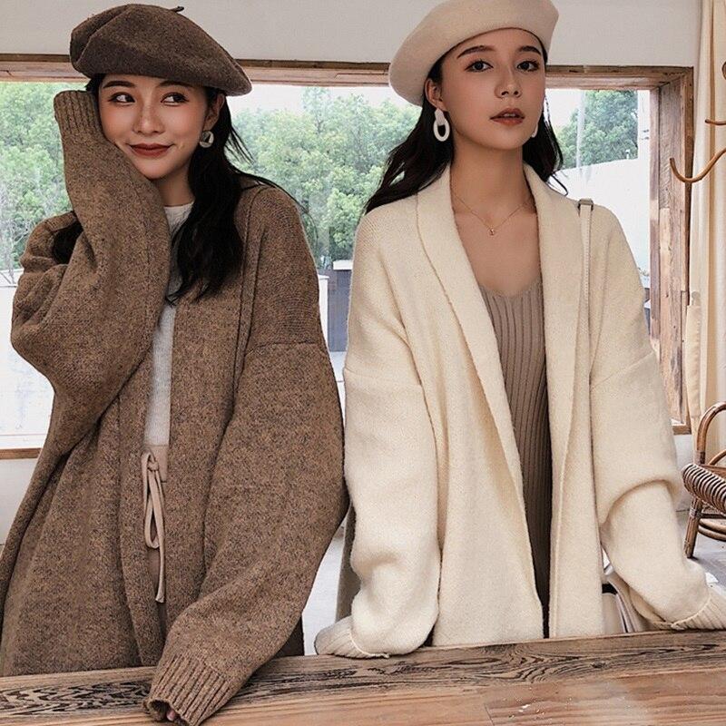 Elegant Women Sweater Thick Long Warm Cardigan Winter Spring Coat Knitted Fashion