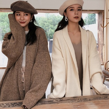 Elegant Women Sweater Thick Long Warm Cardigan Winter Spring Coat Knitted