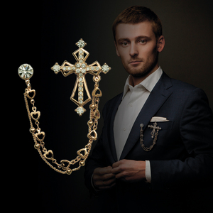 High End British Style Vintage Crystal Cross Brooch Pin Double Chain Lapel Pins and Brooches Suit Badge Shirt Collar Accessories