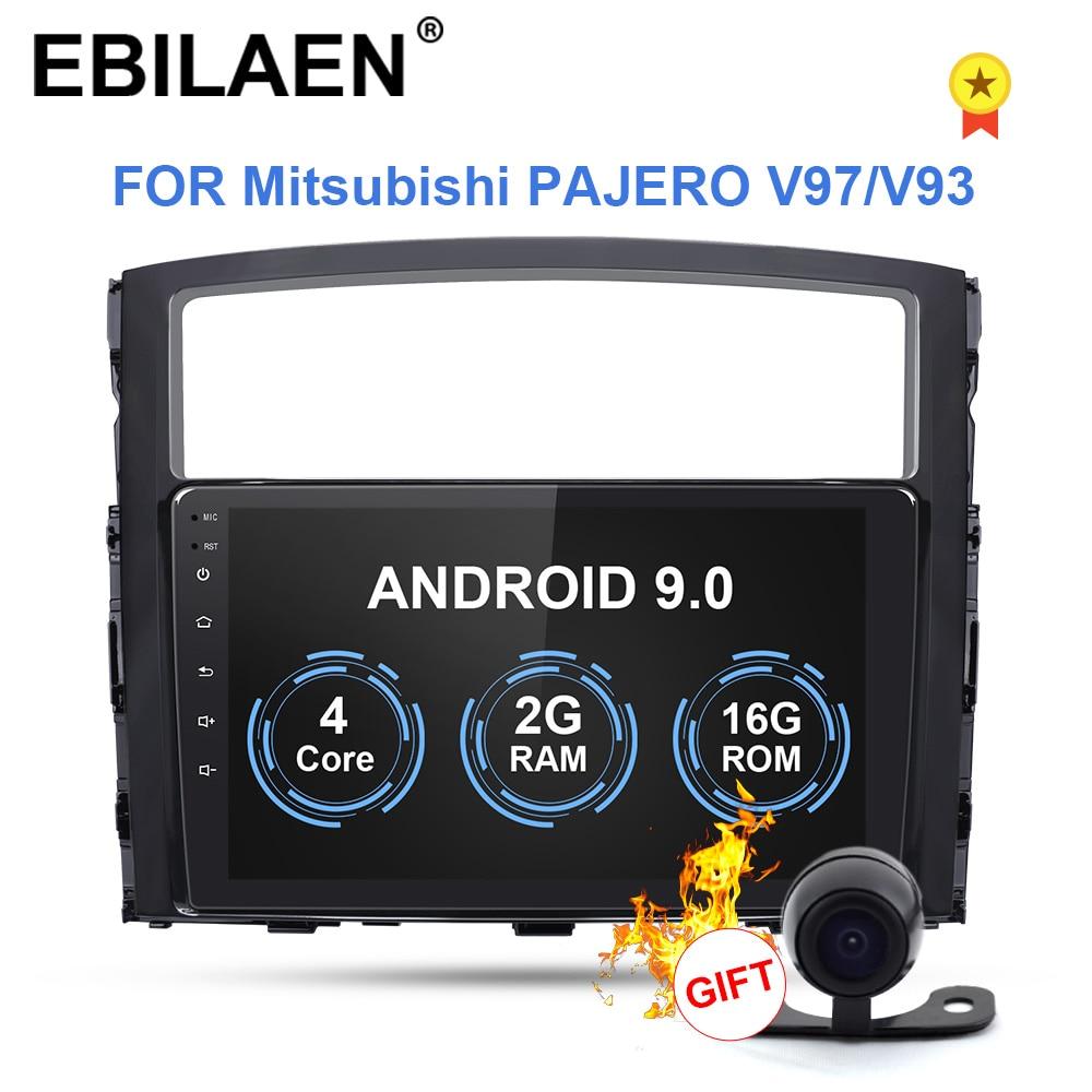 Lecteur multimédia de DVD de Cassette de voiture d'ebilaen pour Mitsubishi PAJERO 4 2din Android 9 Radio GPS Navigation V97 V93 caméra arrière