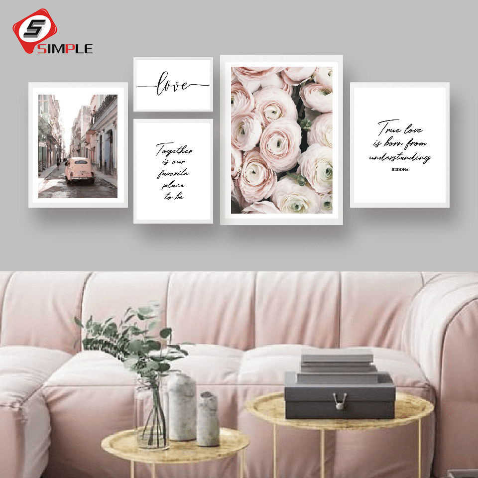 Scandinavian Style Roses Flower Canvas Print Large Wall Art Posters and Prints Love Quote Poster Wall Pictures for Living Room