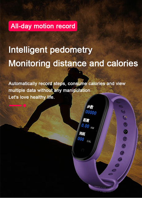 M5 Smart Band Men Women Watch Heart Rate Blood Pressure Sleep Monitor Pedometer Bluetooth-compatible Connection for IOS Android 6