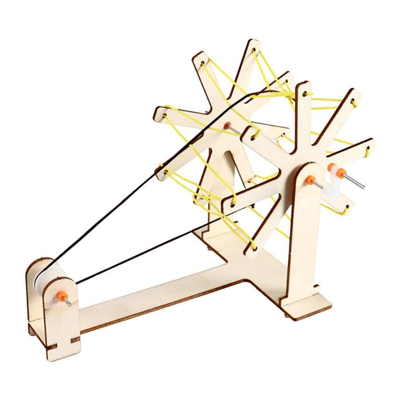 DIY Manual Spin Machine Wood Toy Kid Educational Science Assemble Craft Kit Kids Pratical Ability Improvement Wooden DIY Toys