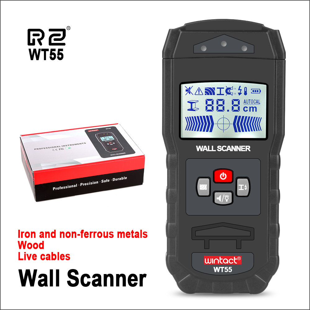 WINTACT Digital Wall Scanner Handheld Professional Multifunction Wall Iron Metal Wood Wire Galvanized Pipe Finder Scanner