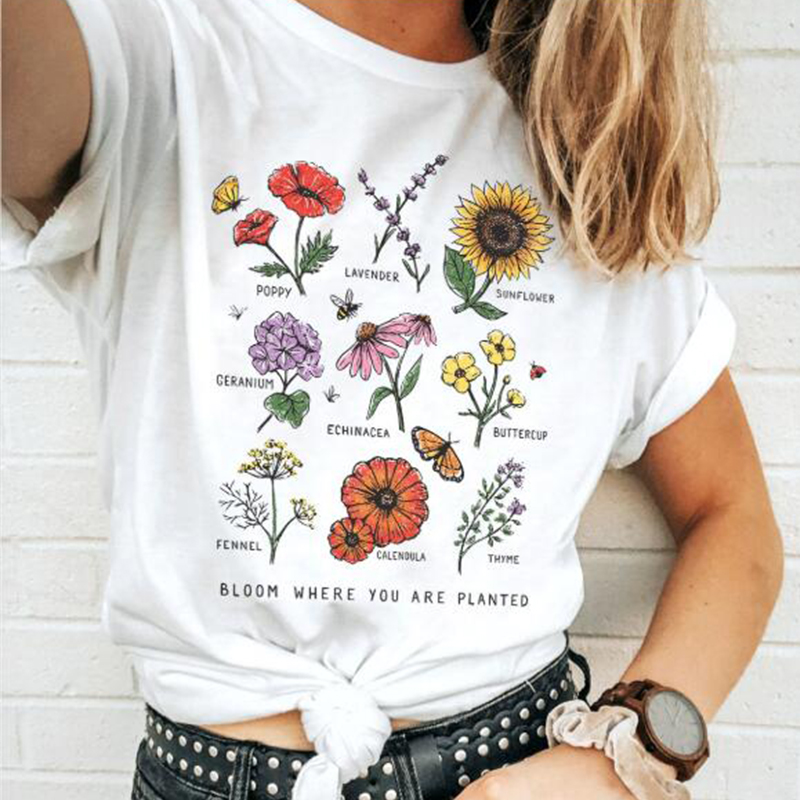 Bloom Where You Are Planted Botanical Flower Print Women T Shirt Cotton Sunflowers Oversized Tops Colorful Graphic Tee Girls Tee
