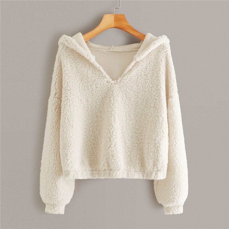 Solid Drop Shoulder Hooded Teddy Sweatshirt