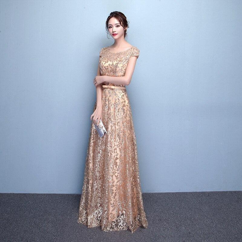 Banquet Evening Dress Women's 2019 New Style Dignified Glorious Long Gold Elegant Debutante Host Dress Women's Summer