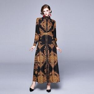 Image 2 - Banulin Autumn Runway Winter Long Dresses 2020 Women Lantern Sleeve Vintage Floral Print Casual Maxi Dress Robe Longue Femme ete