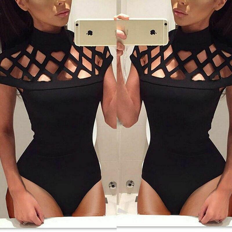 Women's Hollow Bodysuit Stretch Ladies Leotard Bodycon Tops T Shirt Jumpsuit Summer Fashion Sexy Slim Clubwear Lady Bodysuit