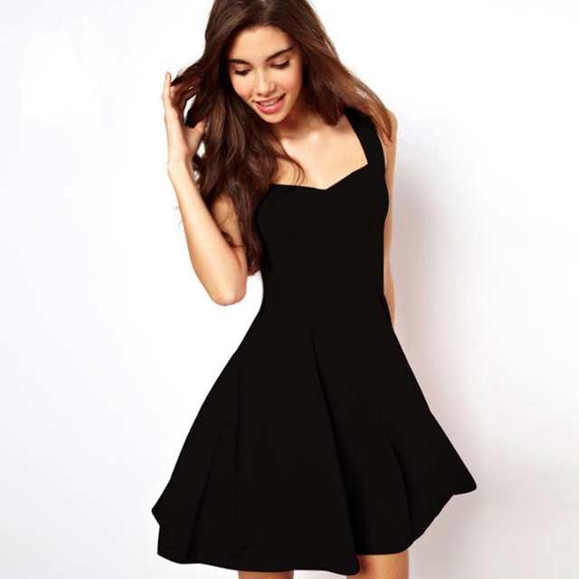 Sexy Black Summer Clothes Bodycon Mini Tank Dress High Waist Slim Solid Fit Flare Skater Casual Dress Women Club Clothing 1