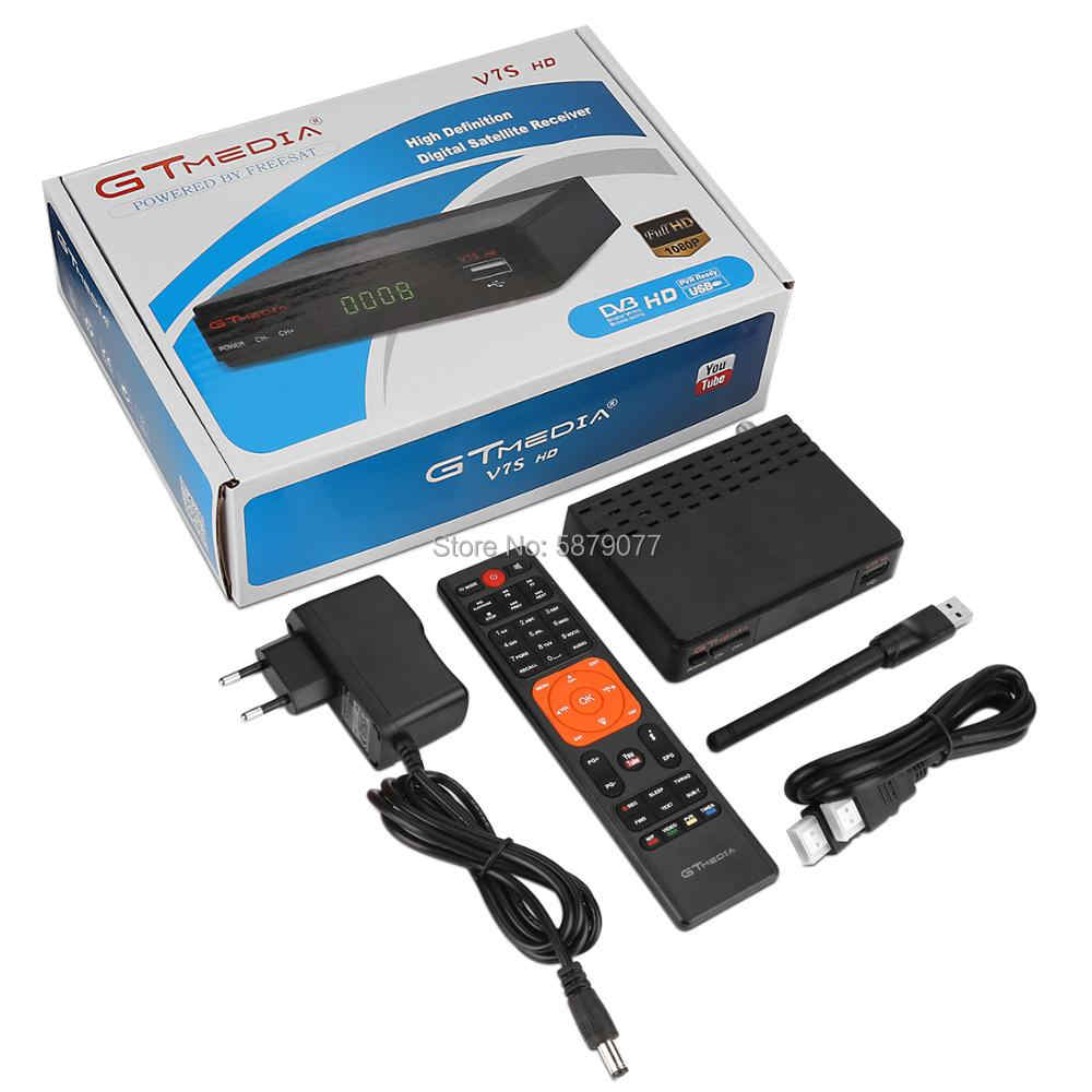 DVB-S2 Gtmedia V7S HD 1080P DVB-S2 GT Media V7S HD Includono USB Wifi H.265 TV Box Alimentato da Freesat v7 Nessun app