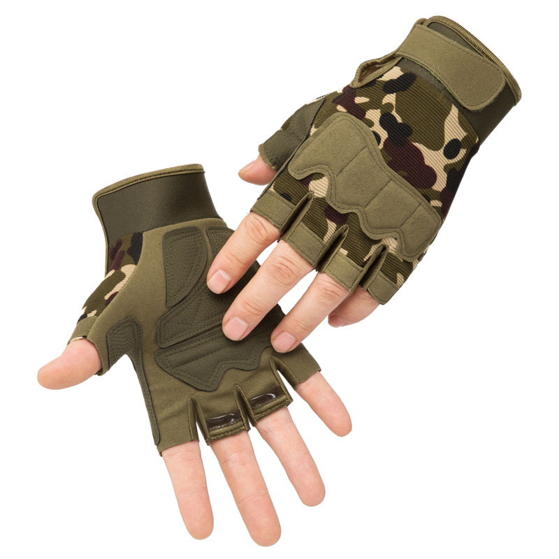 Fingerless Tactical Gloves Military Multicam Camo Outdoor Anti-Slip CS Battle Shooting Paintball Airsoft Army Hunting Gloves