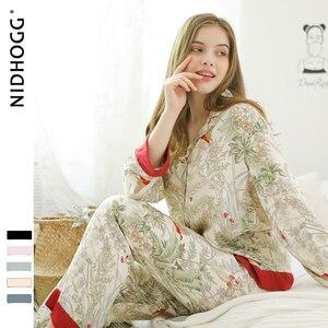 Image 2 - אביב חדש מזדמן ארוך שרוול סאטן פיג מה סט ירוק דשא הדפסת הלבשת Loungewear נשים תורו למטה צווארון פיג מה Mujer