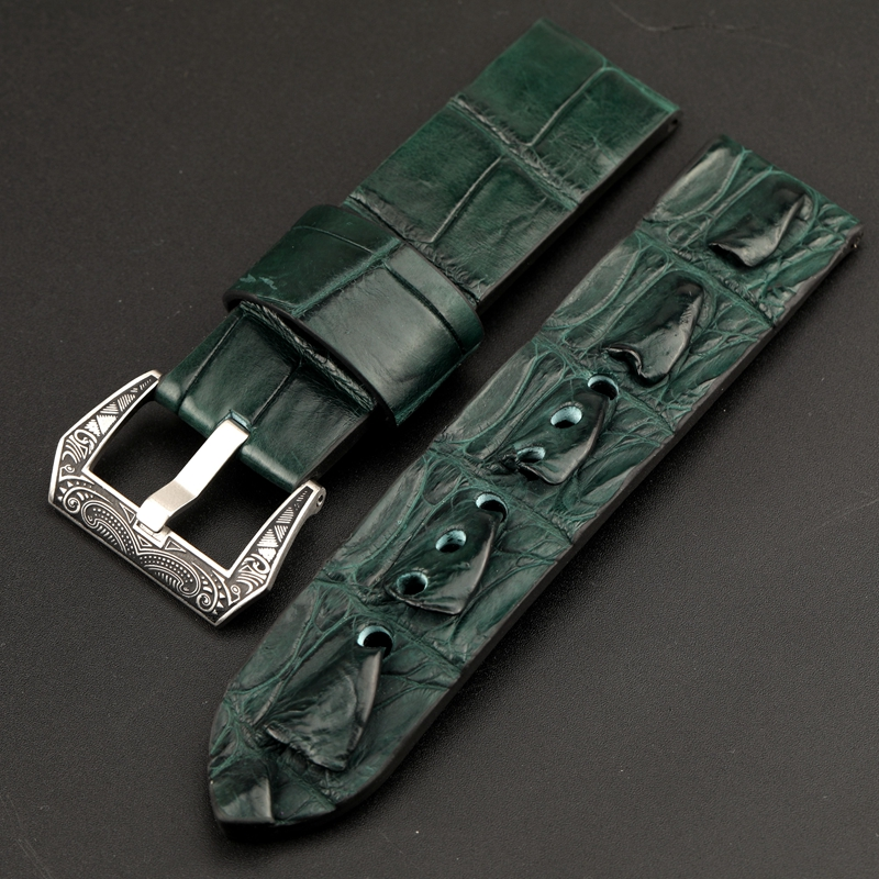 Hand-adaptive PAM111 Bone Pattern Crocodile Leather Watchband 24MM 22MM 20MM Green / Blue Leather Strap, Retro Style
